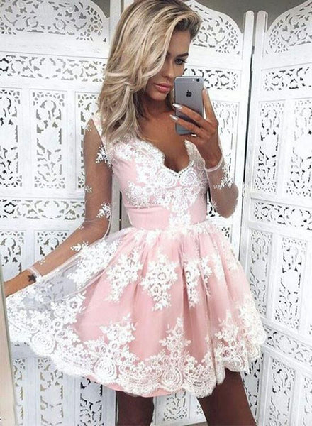 Cute white lace long sleeve short prom dress, cute homecoming dress
