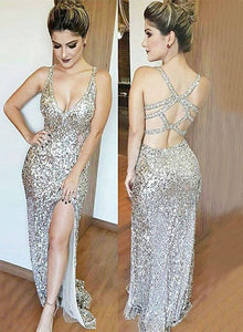Sexy mermaid sequins long prom dress, formal dresses
