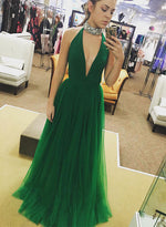 Green v neck tulle long prom dress, green evening dress