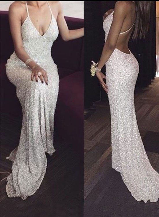 Mermaid white sequins long prom dress, evening dress