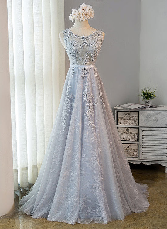 Gray lace tulle long prom dress, lace evening dress