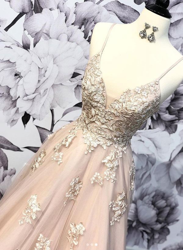 Stylish v neck tulle lace long prom dress, evening dress