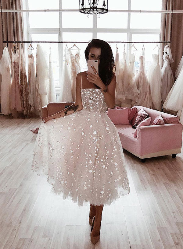 White tulle short prom dress, homecoming dress