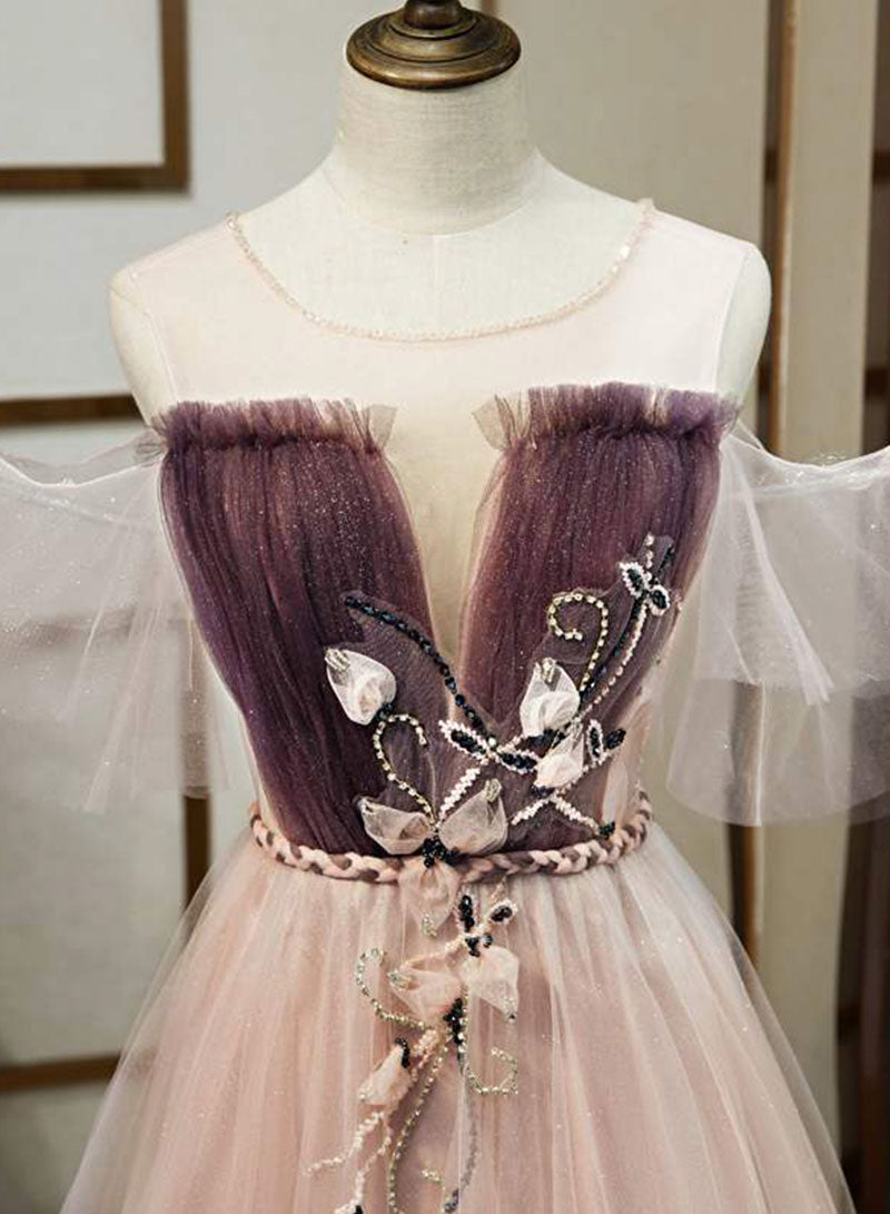 Unique tulle applique long prom dress evening dress