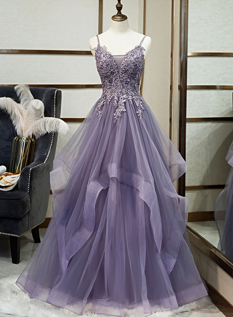 Purple v neck tulle lace long prom dress evening dress
