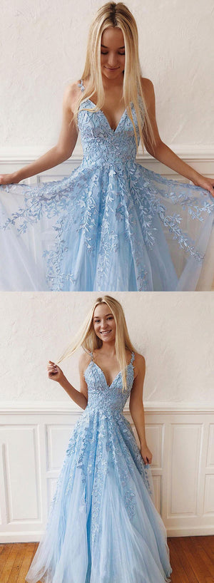 Light blue v neck tulle lace long prom dress, evening dress