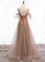 A line tulle long prom dress evening dress