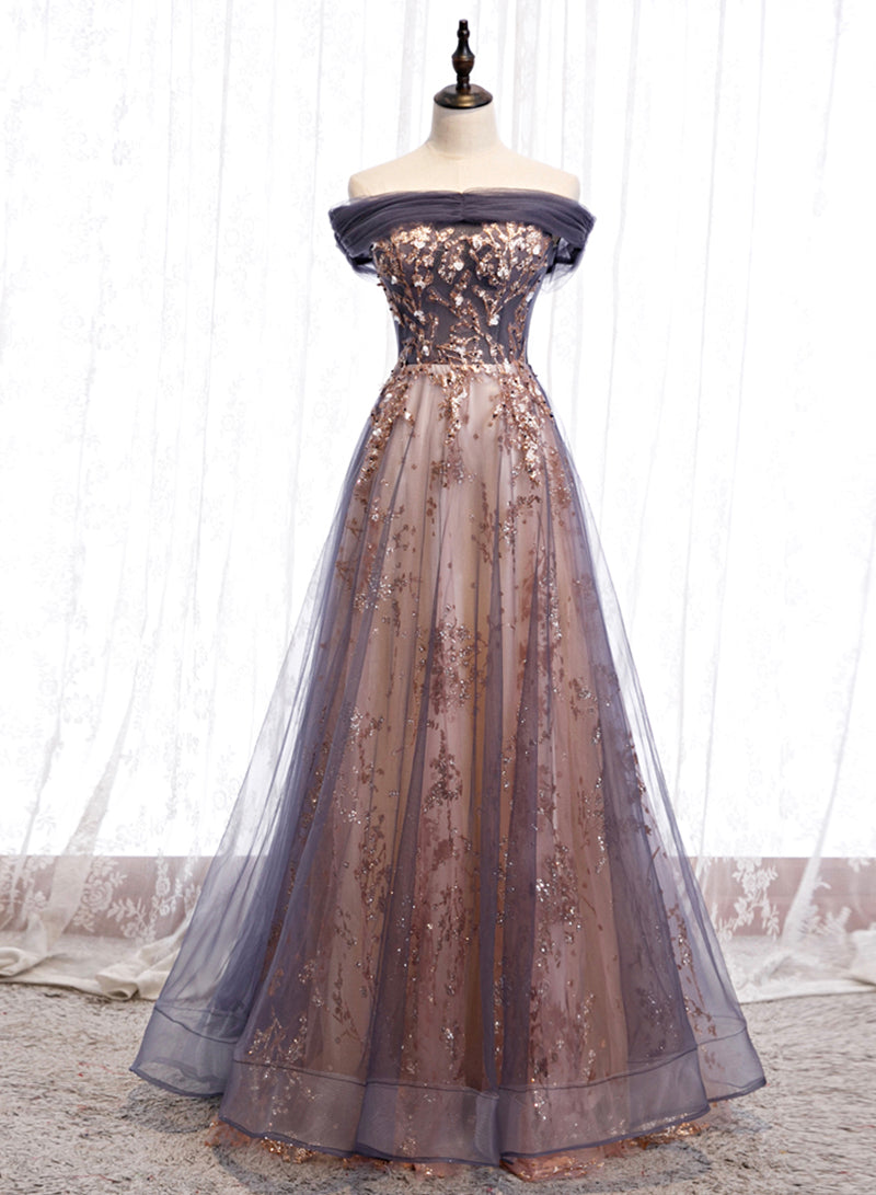 Stylish tulle sequins long prom dress party dress
