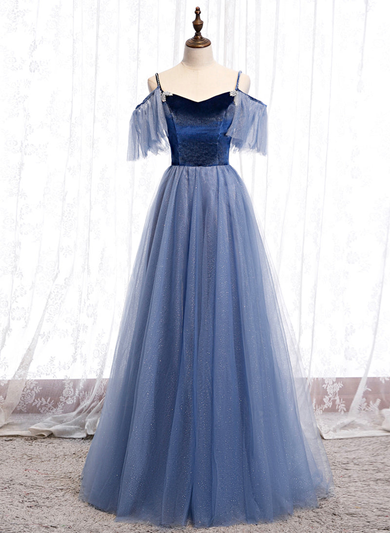 Blue velvet tulle A line prom dress evening dress