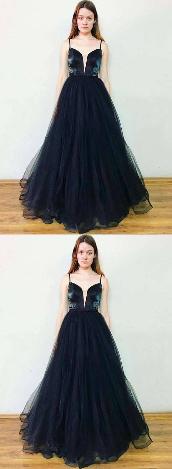 Simple v neck tulle long prom dress, evening dress