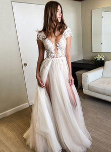 Stylish A line tulle lace long prom dresses with sleeves, formal dresses