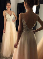 Champagne v neck lace long prom dress, lace evening dresses
