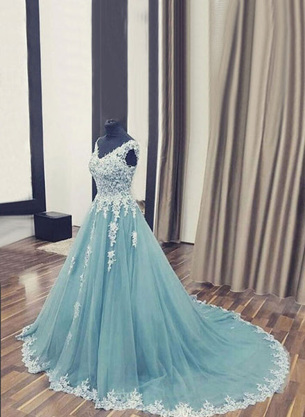 Custom made A line v lace tulle long prom dress, lace evening gown