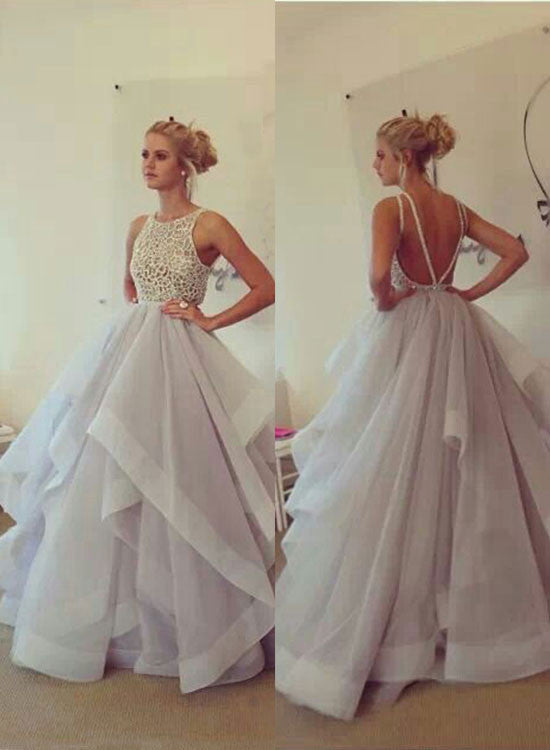 Amazing A line tulle ruffled long prom dress, formla dress