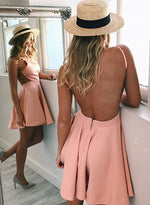 Stylish A line backless short prom dress, homecoming dress