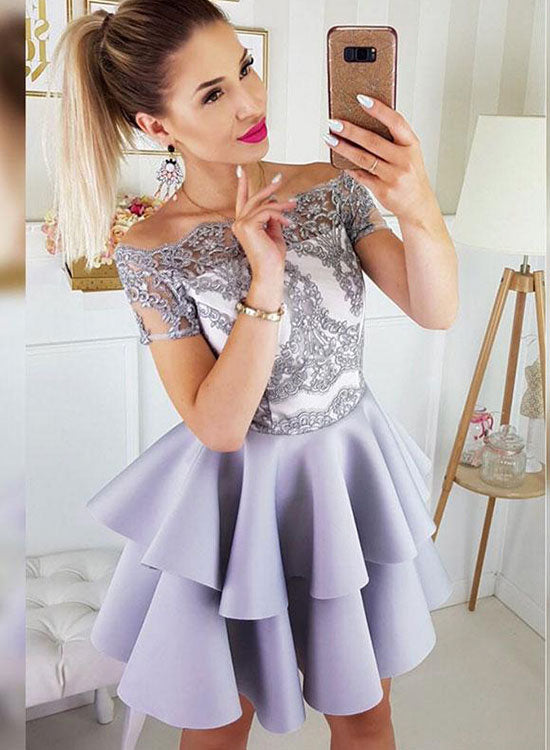 Cute satin lace short prom dress, homecoming dress