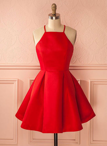 Charming A line red short prom dress, red homecoming dress