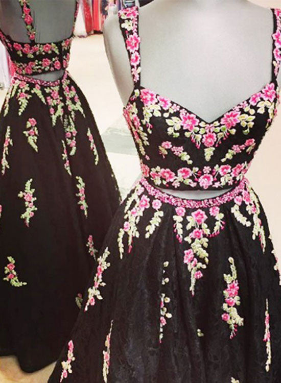 Custom made black two pieces applique long prom dress, black evening dress