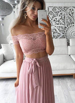 Pink two pieces lace off shoulder long prom dress, fashion girl dress