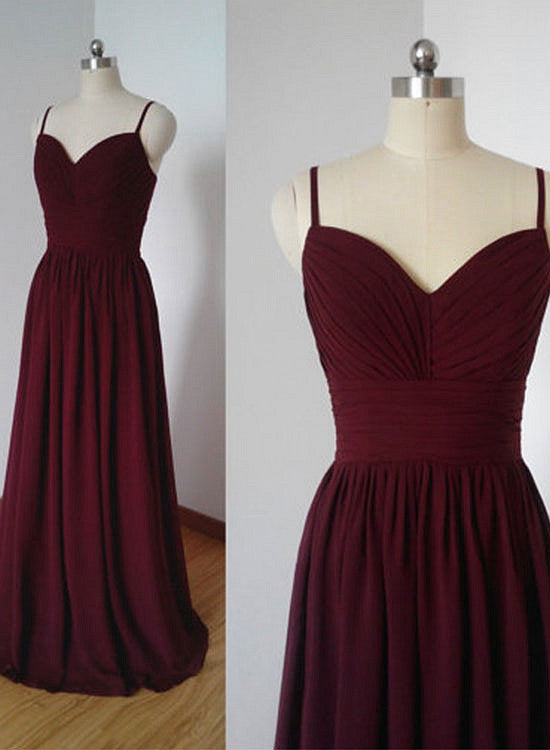 Simple burgundy chiffon a line long prom dress, bridesmaid dress