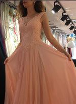 Beautiful V neck chiffon lace long prom dress, lace evening dress