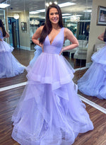 Light purple tulle prom dress evening dress