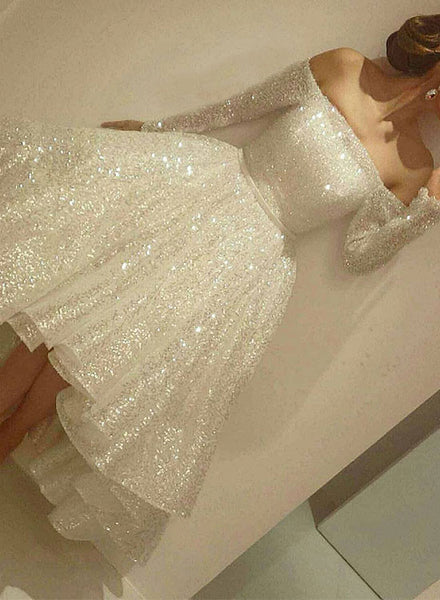 Cute A line high low long sleeve prom dress, white evening dresses