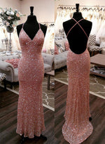 Mermaid red sequins long prom dress, evening dress