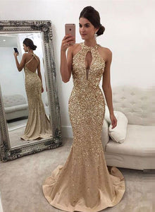 Mermaid round neck sequins long prom dress, mermaid evening dress