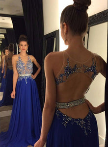 Custom made blue A line beading  long prom dress, evening dresses