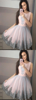 Pink round neck tulle lace short prom dress, homecoming dress