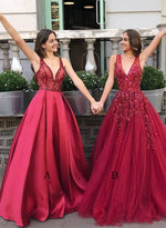 Burgundy v neck sequins beads long prom dress party dress