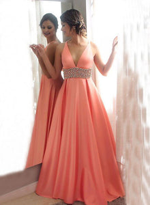 Custom made v neck long prom dress, evening dress