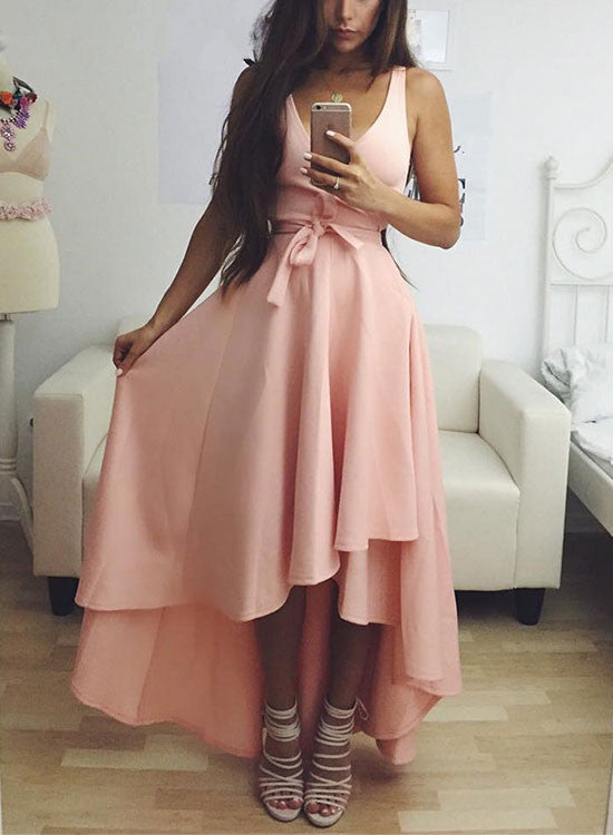 Simple pink high low prom dress, pink evening dress