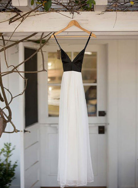Simple black and white long prom dress, evening dresses