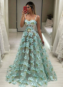 Unique tulle 3D flower long prom dress, evening dress