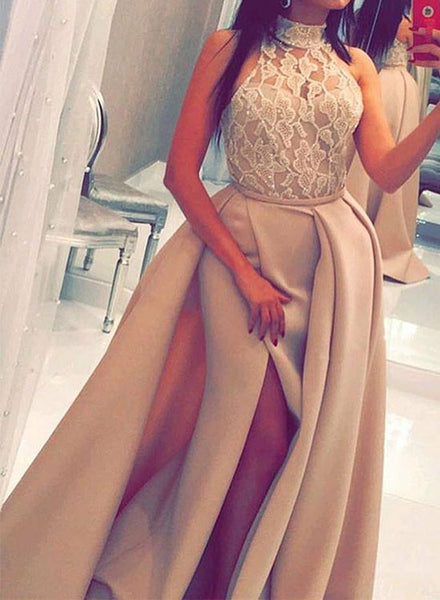Custom made lace high neck long prom dress, evening dress