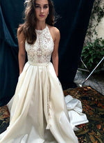 White round neck lace long prom gown, white evening dress