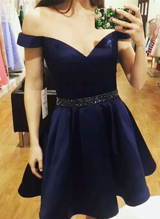 Charming A line off shoulder short prom dress, hoemcoming dress