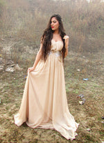 Unique champagne sweetheart neck long prom dress, champagne evening dress