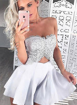 Cute gray lace a line short prom dress, homecoming dresses