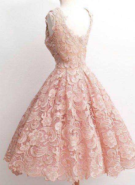 Charming lace short prom dress, homecoming dresses