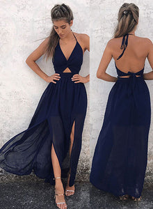 Chic dark blue long prom dress, dark blue evening dress