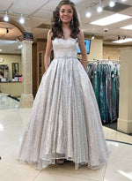 Stylish sweet neck sequins long prom dress, evening dress