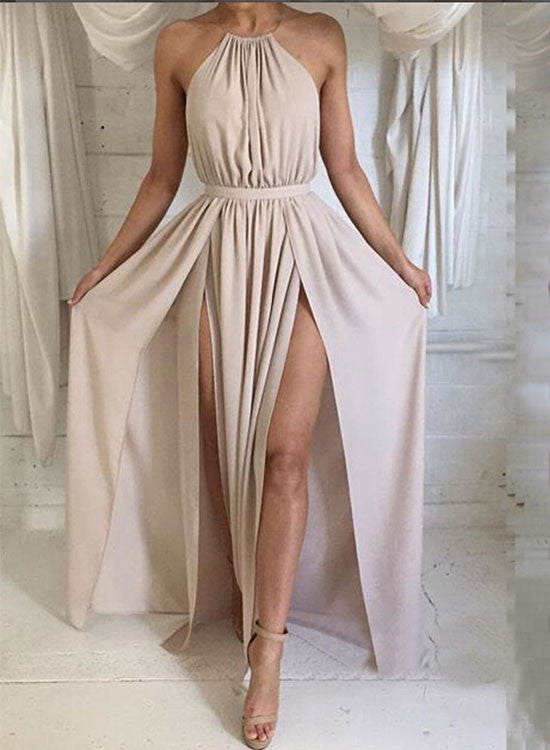 Simple champagne round neck long prom dress, evening dress