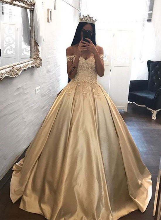 Elegant A line lace off shoulder long prom dress, formal dress