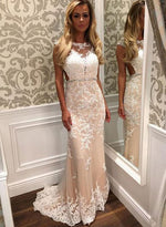 Mermaid round neck lace long prom dress, lace evening dress