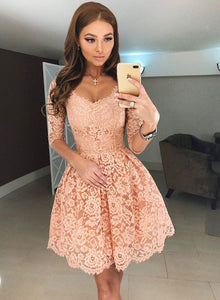 Cute A line lace short prom dress, lace homecoming dress