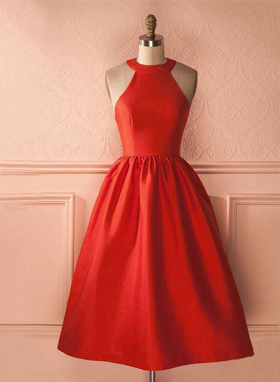 Red satin round neck short prom dress, red homecoming dresses
