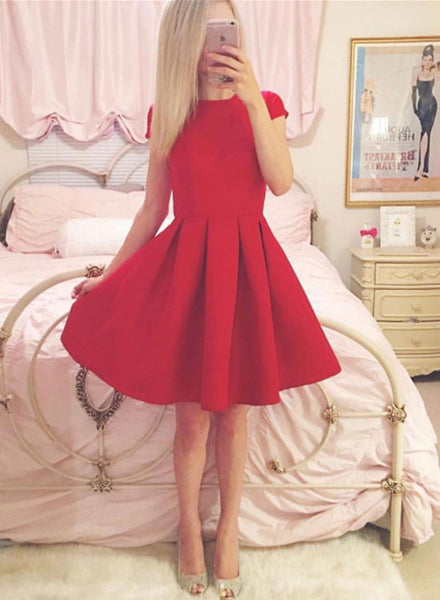 Simple red short sleeve mini prom dress, homecoming dress